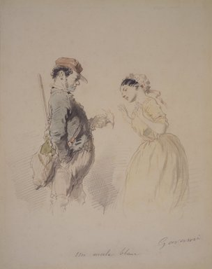 Paul Gavarni (French, 1804-1866). White Blackbird (Un Merle blanc), n.d. Watercolor and pencil on wove paper, Sheet: 8 3/8 x 6 3/4 in. (21.3 x 17.1 cm). Brooklyn Museum, Carll H. de Silver Fund, 26.55