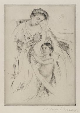 Mary Cassatt (American, 1844-1926). La Glace a Main, ca. 1905. Drypoint on cream colored laid paper, 8 1/8 x 5 13/16 in. (20.7 x 14.8 cm). Brooklyn Museum, Gift of Frank L. Babbott, 26.583