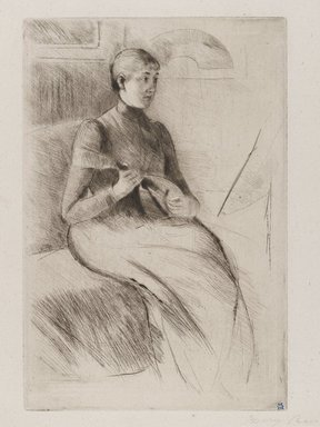 Mary Cassatt (American, 1844-1926). La Mandoline (The Mandolin Player), ca. 1889. Drypoint on white laid paper, Plate: 9 1/4 x 6 1/4 in. (23.5 x 15.8 cm). Brooklyn Museum, Gift of Frank L. Babbott, 26.584