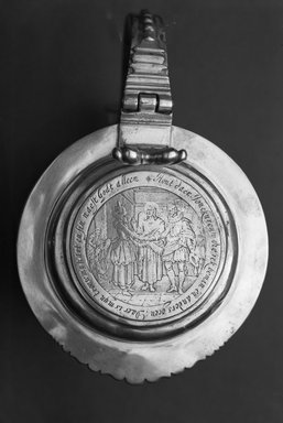 Nicholas Roosevelt (American, 1715-1769). Tankard, Tankard: 1735-1769; Medallion: ca. 1639. Silver, 5 1/2 x 3 3/4 in. (14 x 9.5 cm). Brooklyn Museum, Gift of Tunis Johnson, 26.616. Creative Commons-BY