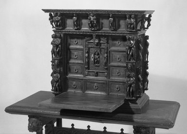 Small Cabinet, 17th or 18th Century. Walnut, 27 x 29 1/2 x 14 7/8 in. (68.6 x 74.9 x 37.8 cm). Brooklyn Museum, Museum Surplus Fund, 26.640. Creative Commons-BY