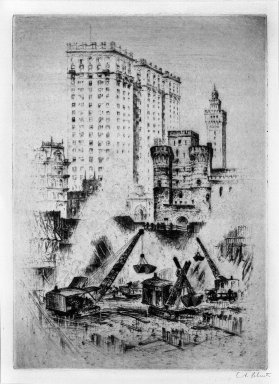 Anton Schutz (American, 1894-1977). The Birth of a Skyscraper 1920's, ca. 1920. Etching on wove paper, Sheet: 18 11/16 x 14 5/16 in. (47.5 x 36.3 cm). Brooklyn Museum, Brooklyn Museum Collection, 26.819