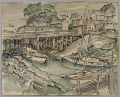 William Sanger (American, 1875-1961). South End Bridge, Eastport, 19th century. Watercolor, 15 1/4 x 19 in. (38.7 x 48.2 cm). Brooklyn Museum, Gift of Frances King, 27.117. © Estate of William Sanger