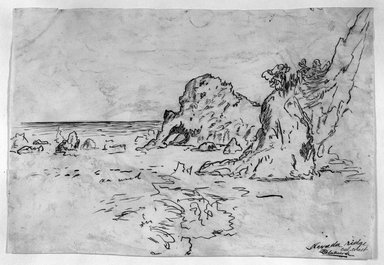 Ralph Albert Blakelock (American, 1847-1919). Nevada Ridge, California Coast, ca. 1869-1871. Pen, ink and graphite on paper, Sheet: 7 3/4 x 11 1/8 in. (19.7 x 28.3 cm). Brooklyn Museum, Gift of Mr. and Mrs. E. Le Grand Beers in memory of Edwin Beers, 27.15