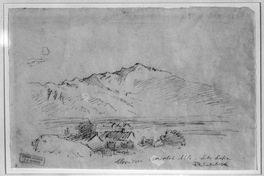 Ralph Albert Blakelock (American, 1847-1919). Moonrise, Wasateh Mts. St. Lake, ca. 1869-1871. Pen and sepia ink on thin paper, Sheet: 5 5/16 x 8 1/16 in. (13.5 x 20.5 cm). Brooklyn Museum, Gift of Mr. and Mrs. E. Le Grand Beers in memory of Edwin Beers, 27.18