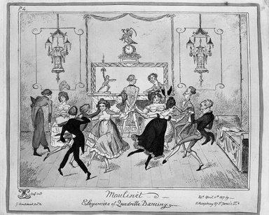 George Cruikshank (British, 1792-1878). Moulinet.  Elegancies of Quadrille Dancing, 1817. Etching, hand-colored on wove paper, 8 7/16 x 10 1/16 in. (21.5 x 25.6 cm). Brooklyn Museum, 27.235