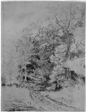 Ralph Albert Blakelock (American, 1847-1919). [Untitled] (Road Through the Woods), n.d. Pen and ink and graphite on paper, Sheet: 12 1/4 x 9 3/8 in. (31.1 x 23.8 cm). Brooklyn Museum, Gift of Mr. and Mrs. E. Le Grand Beers in memory of Edwin Beers, 27.23