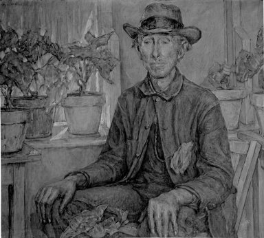 Robert Reid (American, 1862-1929). The Old Gardener, 1921. Oil on canvas, 36 1/8 x 40 3/16 in. (91.8 x 102 cm). Brooklyn Museum, Gift of Fellow Members in the Players and Lambs Clubs, 27.357