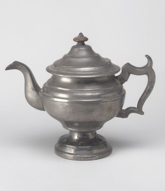 Teapot, mid 19th century. Pewter, wood, 8 3/8 x 10 1/4 x 5 3/4 in. (21.3 x 26 x 14.6 cm). Brooklyn Museum, Gift of Mrs. Samuel Doughty, 27.457. Creative Commons-BY