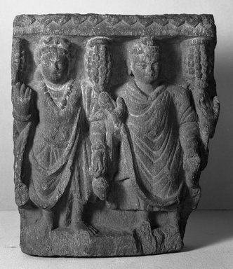 Buddhist. Small Fragmentary Bas-relief, late 2nd-3rd century. Slate, 8 1/2 x 2 9/16 x 7 1/16 in. (21.6 x 6.5 x 18 cm). Brooklyn Museum, Gift of Frederic B. Pratt, 27.64. Creative Commons-BY
