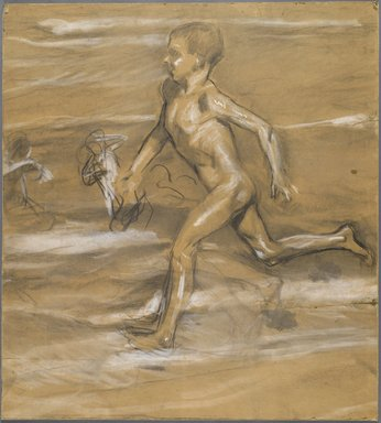 Joaquín Sorolla y Bastida (Spanish, 1863-1923). [Untitled] (Nude Boy Running), n.d. (1878-1920). Charcoal, graphite, and white pastel, 25 7/16 x 28 1/8 in. (64.5 x 71.3 cm). Brooklyn Museum, Frank Sherman Benson Fund, 27.660