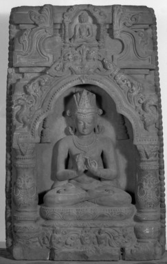 Crowned Buddha Seated in a Niche, 9th - 10th century. Schist, 22 7/16 x 13 3/16 x 2 3/4 in. (57 x 33.5 x 7 cm). Brooklyn Museum, Gift of Frederic B. Pratt, 27.67. Creative Commons-BY
