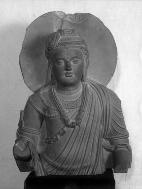 Graeco-Buddhistic. Upper Part of a Bodhisattva Figure, ca. 2nd-3rd century C.E. Blackish-gray slate, 50 x 35 x 11.5 cm (50 x 35 x 11.5 cm). Brooklyn Museum, Gift of Frederic B. Pratt, 27.70. Creative Commons-BY