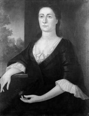 John Greenwood (American, 1727-1792). Portrait of a Lady (possibly Mrs. John Hubbard, née Elizabeth Gooch, later Mrs. John Franklin), ca. 1748. Oil on canvas, 35 13/16 x 28 1/16 in. (90.9 x 71.3 cm). Brooklyn Museum, Carll H. de Silver Fund and Alfred T. White Fund, 27.946