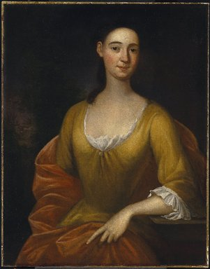 John Smibert (American, 1688-1751). Portrait of a Woman (possibly Mrs. James [Hester Stanton Plaisted] Gooch), 1730. Oil on canvas, 35 9/16 x 27 11/16 in. (90.3 x 70.4 cm). Brooklyn Museum, Carll H. de Silver Fund and Alfred T. White Fund, 27.947