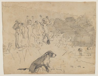 Winslow Homer (American, 1836-1910). The Swimming Hole, n.d. Graphite on beige, moderately thick, moderately textured wove paper, Sheet: 7 5/8 x 9 7/8 in. (19.4 x 25.1 cm). Brooklyn Museum, Frederick Loeser Fund, 28.209