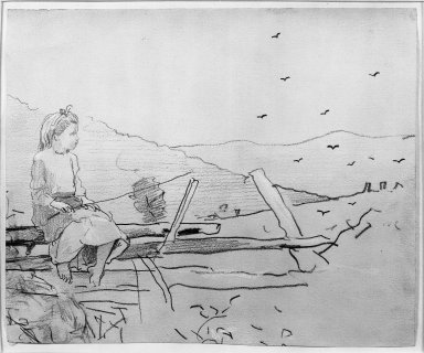 Winslow Homer (American, 1836-1910). Girl Seated on a Rail Fence, ca. 1878. Graphite with opaque white washes on beige medium weight, slightly textured wove paper, Sheet: 6 11/16 x 8 1/16 in. (17 x 20.5 cm). Brooklyn Museum, Frederick Loeser Fund, 28.210
