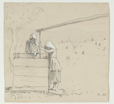 Winslow Homer (American, 1836-1910). Girls at a Well, 1879. Graphite and watercolor on paper, Sheet: 7 3/4 x 8 1/8 in. (19.7 x 20.6 cm). Brooklyn Museum, Frederick Loeser Fund, 28.212