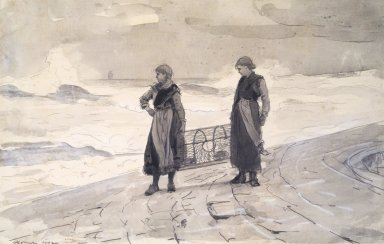 Winslow Homer (American, 1836-1910). Women On Shore with Lobster Pot. Watercolor, 21 1/4 x 16 1/4 in. (54 x 41.3 cm). Brooklyn Museum, Frederick Loeser Fund, 28.213