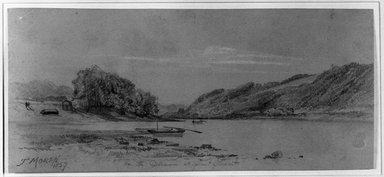 Thomas Moran (American, 1837-1926). On the Delaware at Point Pleasant, 1857. Graphite and white chalk on grayish brown, medium thick, slightly textured wove paper, Sheet: 3 15/16 x 8 3/4 in. (10 x 22.2 cm). Brooklyn Museum, Anonymous gift, 28.274