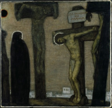 Franz von Stuck (German, 1863-1928). Golgotha, 1917. Oil on canvas, 46 7/8 x 48 1/4 x 3 3/16 in. (119.1 x 122.6 x 8.1 cm). Brooklyn Museum, Gift of Alfred W. Jenkins, 28.420