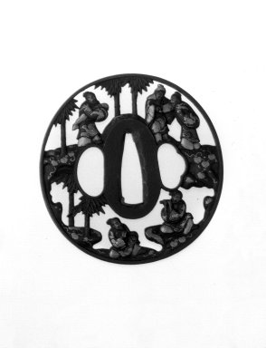 Sword Guard, 18th century. Iron, chiseled and pierced and with extensive gilding, 2 15/16 x 2 13/16 x 3/16 in. (7.5 x 7.2 x 0.4 cm). Brooklyn Museum, Gift of F. Ethel Wickham, 28.594. Creative Commons-BY
