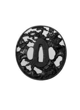 Sword Guard, late 18th-early 19th century. Iron, gold, 3 1/16 x 2 7/8 x 3/16 in. (7.8 x 7.3 x 0.4 cm). Brooklyn Museum, Gift of F. Ethel Wickham, 28.595. Creative Commons-BY