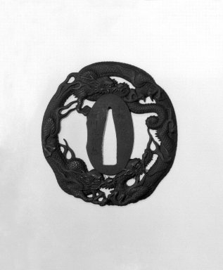 Sword Guard, early 19th century. Iron; slight gilding, 2 13/16 x 2 3/4 x 3/16 in. (7.1 x 7 x 0.4 cm). Brooklyn Museum, Gift of F. Ethel Wickham, 28.613. Creative Commons-BY