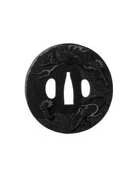 Jakushi of Nagasaki. Sword Guard, 18th century. Chiseled iron with gilding, 2 15/16 x 2 7/8 x 1/8 in. (7.5 x 7.3 x 0.3 cm). Brooklyn Museum, Gift of F. Ethel Wickham, 28.643. Creative Commons-BY
