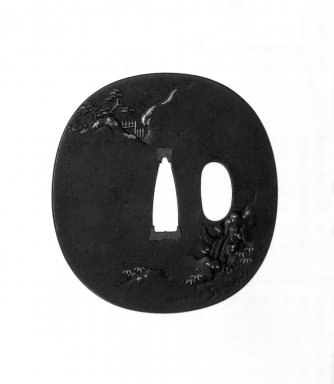 Umetada (Japanese). Sword Guard, 19th century. Iron, iroe, 2 13/16 x 2 5/8 x 3/16 in. (7.2 x 6.7 x 0.4 cm). Brooklyn Museum, Gift of F. Ethel Wickham, 28.676. Creative Commons-BY