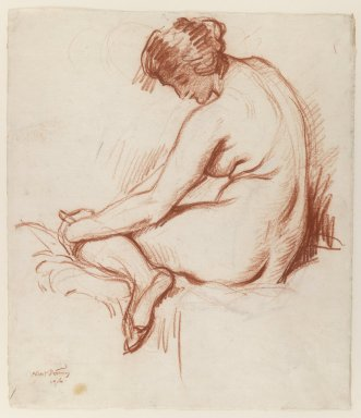 Albert Sterner (American, 1863-1946). Nude, 1916. Sanguine and Chinese white chalk on paper, Sheet: 18 1/8 x 15 1/8 in. (46 x 38.4 cm). Brooklyn Museum, Gift of the artist, 29.1030