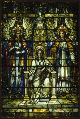 Frederick Stymetz Lamb (American, 1862-1928). Religion Enthroned. Stained glass window Brooklyn Museum, Gift of Irving T. Bush in memory of his father and mother, 29.1082. Creative Commons-BY