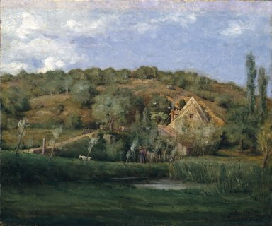 Julian Alden Weir (American, 1852-1919). A French Homestead, 1878. Oil on canvas, 20 1/16 x 23 7/8 in. (51 x 60.7 cm). Brooklyn Museum, Gift of Alfred W. Jenkins, 29.1085