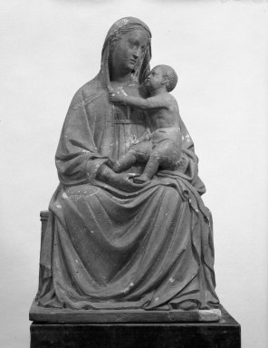 Madonna and Child, 15th century. terracotta, 35 7/16 x 21 1/4 x 16 5/16 in. (90 x 54 x 41.5 cm). Brooklyn Museum, 29.1256. Creative Commons-BY