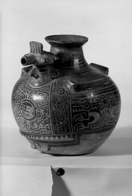 Recuay. Effigy Vessel, 1-650. Ceramic, pigment (negative resist painting technique), 8 1/4 x 8 x 8 in. (21 x 20.3 x 20.3 cm). Brooklyn Museum, Museum Collection Fund, 29.1312.16. Creative Commons-BY