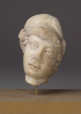 Roman. Head of Athena, 2nd-3rd century C.E. Marble, 4 1/2 x 3 3/8 x 2 13/16 in. (11.5 x 8.5 x 7.2 cm). Brooklyn Museum, Gift of Bianca Olcott in memory of her father, Professor George M. Olcott of Columbia University, of her grandfather, George N. Olcott, and of her great-grandfather, Charles M. Olcott, President of the Brooklyn Institute of Arts and Sciences 1851-1853, 29.1603. Creative Commons-BY