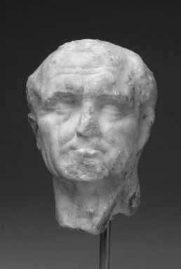 Roman. Head of Man, late 1st century C.E. Marble, 5 13/16 x 4 1/2 x 3 5/8 in. (14.7 x 11.5 x 9.2 cm). Brooklyn Museum, Gift of Bianca Olcott in memory of her father, Professor George M. Olcott of Columbia University, of her grandfather, George N. Olcott, and of her great-grandfather, Charles M. Olcott, President of the Brooklyn Institute of Arts and Sciences 1851-1853, 29.1605. Creative Commons-BY