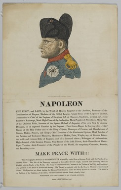 After Johann Michael Voltz. Napoleon, the First and Last. Etching and aquatint, 18 3/4 x 11 13/16 in. (47.6 x 30 cm). Brooklyn Museum, Bequest of Marion Reilly, 29.1619.19