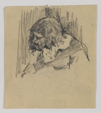 William Merritt Chase (American, 1849-1916). [Untitled] (Sketch of Head of Man), n.d. Graphite on paper, Sheet: 4 13/16 x 4 3/16 in. (12.2 x 10.6 cm). Brooklyn Museum, Gift of Newhouse Galleries, Inc., 29.27.10