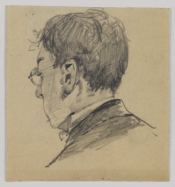 William Merritt Chase (American, 1849-1916). [Untitled] (Sketch of Back of Man's Head), n.d. Graphite on paper, Sheet: 4 1/2 x 4 3/16 in. (11.4 x 10.6 cm). Brooklyn Museum, Gift of Newhouse Galleries, Inc., 29.27.1