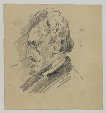 William Merritt Chase (American, 1849-1916). [Untitled] (Sketch of Man's Head), n.d. Graphite on paper, Sheet: 4 1/2 x 4 1/4 in. (11.4 x 10.8 cm). Brooklyn Museum, Gift of Newhouse Galleries, Inc., 29.27.3