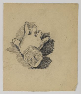 William Merritt Chase (American, 1849-1916). [Untitled] (Study of Infant's Hand), n.d. Graphite on paper, Sheet: 5 x 4 3/16 in. (12.7 x 10.6 cm). Brooklyn Museum, Gift of Newhouse Galleries, Inc., 29.27.4