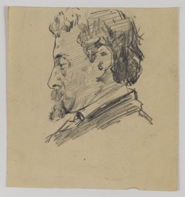 William Merritt Chase (American, 1849-1916). [Untitled] (Sketch of Man's Head), n.d. Graphite on paper, Sheet: 4 1/2 x 4 1/4 in. (11.4 x 10.8 cm). Brooklyn Museum, Gift of Newhouse Galleries, Inc., 29.27.6