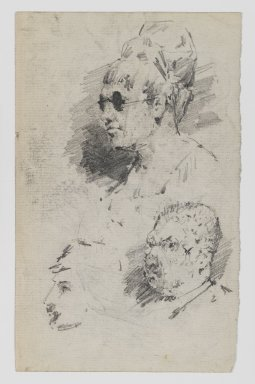 William Merritt Chase (American, 1849-1916). [Untitled] (Study of Heads) (recto) and [Untitled] (Study of Two Male Heads) (verso), n.d. Graphite on paper, Sheet: 7 1/8 x 4 7/16 in. (18.1 x 11.3 cm). Brooklyn Museum, Gift of Newhouse Galleries, Inc., 29.27.7a-b