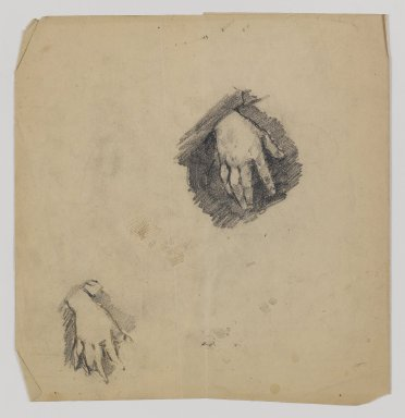 William Merritt Chase (American, 1849-1916). [Untitled] (Study of Child's Hands), n.d. Graphite on paper, Sheet (folded, irregular): 8 7/8 x 8 1/2 in. (22.5 x 21.6 cm). Brooklyn Museum, Gift of Newhouse Galleries, Inc., 29.27.8