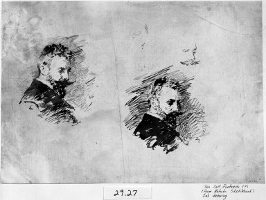 William Merritt Chase (American, 1849-1916). Self-Portrait Studies, ca. 1886. Brown ink on off-white, medium-weight, moderately textured laid paper, Sheet: 11 1/2 x 16 1/2 in. (29.2 x 41.9 cm). Brooklyn Museum, Gift of Newhouse Galleries, Inc., 29.27.12