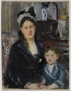 Berthe Morisot (French, 1841-1895). Portrait of Mme Boursier and Her Daughter (Portrait de Mme Boursier et de sa fille), ca. 1873. Oil on canvas, 29 5/16 x 22 3/8 in. (74.5 x 56.8 cm). Brooklyn Museum, Museum Collection Fund, 29.30