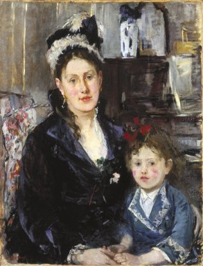 Brooklyn Museum: Portrait of Mme Boursier and Her Daughter (Portrait de Mme Boursier et de sa fille)
