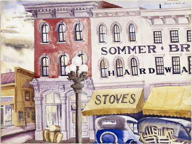Clarence Holbrook Carter (American, 1904-2000). Sommer Brothers, Stoves and Hardware, 1928. Watercolor over graphite on off-white, thick, smooth-textured wove paper, 15 1/8 x 20 1/8 in. (38.4 x 51.1 cm). Brooklyn Museum, Carll H. de Silver Fund, 29.65. © Estate of Clarence Holbrook Carter