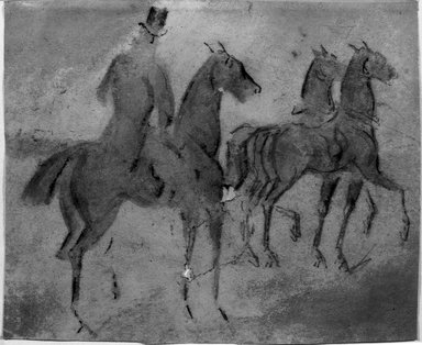 Constantin Guys (French, 1805-1892). Calèche and Cavaliers (Calèche et cavaliers), n.d. Pencil, charcoal, and wash on wove paper, Sheet: 6 3/4 x 8 1/8 in. (17.1 x 20.6 cm). Brooklyn Museum, Museum Collection Fund, 29.75